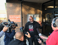 Desmond Meade at elections office