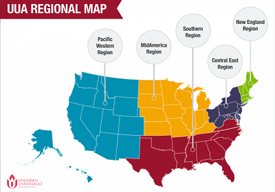 Map of UUA regions with each one marked in a different color